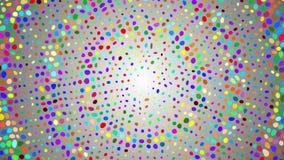 Halfton modellbakgrund Cirkel spiral av kulöra prickar på vit, grå bakgrund Animering av vågrörelse Partiklar och poin lager videofilmer