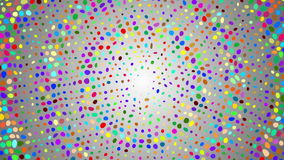 Halfton wzoru tło Okrąg, spirala barwione kropki na białym, szarym tle, Animacja falowy ruch Cząsteczki i poin zdjęcie wideo