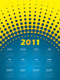 Halftone 2011 calendar in blue and yellow. Colors Royalty Free Stock Photos