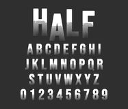 Halftone alphabet font template. Letters and numbers half tone stamp design. Vector illustration stock illustration