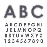 Halftone alphabet and numbers. Latin alphabet. Capital letters and numbers with black halftone effect isolated on white background Vector Illustration