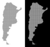 Halftone Argentina Map. Halftone round spot Argentina map. Vector geographical maps in gray and white colors on white and black backgrounds. Abstract pattern of royalty free illustration