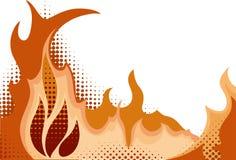 Halftone background. Fire. Vector illustration Stock Photos