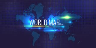 Halftone background and banner with world map on blue background. royalty free illustration