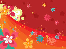 Halftone background with colorful bloom Stock Photo