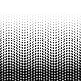 Halftone background of dots in wavy arrangement. Black-white bottom-top gradient. Abstract retro style vector wallpaper Stock Photography