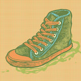 Halftone  background with sneakers Royalty Free Stock Images