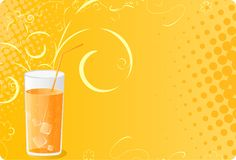 Halftone banner with juice glass. And swirl design Royalty Free Stock Images