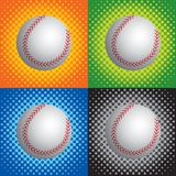 Halftone baseballs. Baseballs on multiple halftone color backgrounds Royalty Free Stock Image