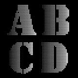 Halftone Black White Alphabet letters Numbers Notations Stock Photography
