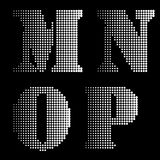 Halftone Black White Alphabet letters Numbers Notations Stock Image