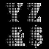 Halftone Black White Alphabet letters Numbers Notations Royalty Free Stock Images