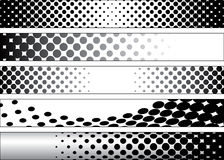Halftone Black and White Web Banners. Five Halftone Black and White Web Banners Royalty Free Stock Image