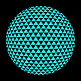 Halftone blue circle. Set of abstract round 3d bright blue sphere consisting of dots in form of halftone. Scientific and technical frame illustration. Flat Stock Photos