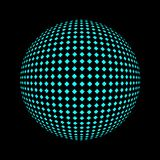 Halftone blue circle. Set of abstract round 3d bright blue sphere consisting of dots in form of halftone. Scientific and technical frame illustration. Flat Royalty Free Stock Photography