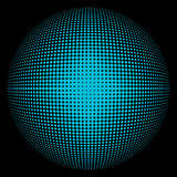 Halftone blue sphere. Abstract round 3d blue sphere consisting of dots in form of halftone. Scientific and technical frame illustration. Flat vector cartoon vector illustration