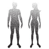 Halftone body , Male and female Anatomy, designed using square dot, graphic vector. Half body , Male and female Anatomy, designed using square dot, graphic royalty free illustration