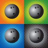 Halftone bowling balls. Bowling balls on multiple halftone backgrounds Royalty Free Stock Images