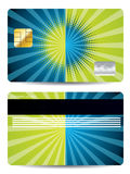 Halftone with burst credit card design Stock Images