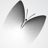 Halftone Butterfly, Black and White Abstract Vector Illustration Stock Photo