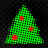 Halftone Christmas tree. With baubles Stock Photos