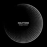 Halftone circle frame with white abstract dots on black background. Logo design element. Vector. stock illustration