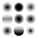 Halftone circles set, dot pattern. Vector illustration. Isolated on white background Stock Photos