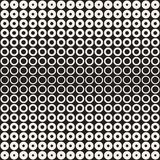 Halftone circles vector seamless pattern. Abstract geometric texture with size gradation of rings. Gradient transition. Effect monochrome background Royalty Free Stock Photography