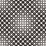 Halftone circles vector seamless pattern. Abstract geometric texture with size gradation of rings. Gradient transition. Effect monochrome background Royalty Free Stock Photo