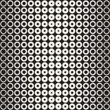 Halftone circles vector seamless pattern. Abstract geometric texture with size gradation of rings. Gradient transition. Effect monochrome background Royalty Free Stock Image