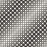 Halftone circles vector seamless pattern. Abstract geometric texture with size gradation of rings. Gradient transition. Effect monochrome background Stock Photography