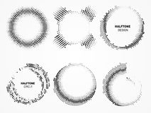 Halftone circular frame. Technological circles with dots. Stock Photo