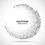 Halftone cirkelkader met zwarte abstracte willekeurige punten, embleemembleem voor medische technologie, behandeling, schoonheids