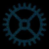Clock Gear Mosaic Icon of Halftone Spheres. Halftone Clock gear collage icon of circle elements in blue color hues on a black background. Vector circle items are Royalty Free Stock Photos