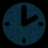 Clock Mosaic Icon of Halftone Spheres. Halftone Clock mosaic icon of spheres in blue color hues on a black background. Vector round spheres are arranged into Royalty Free Stock Photography