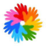 Halftone Colorful Hand Print icon Stock Images