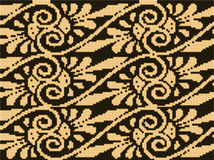 Halftone colorful seamless retro pattern aboriginal brown golden. Spiral cross vine flower can be used for both print and web page Royalty Free Stock Photos
