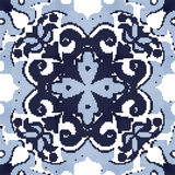 Halftone colorful seamless retro pattern blue curve spiral flowe Royalty Free Stock Photos