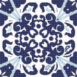 Halftone colorful seamless retro pattern blue spiral leaf kaleid Royalty Free Stock Image