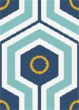 Halftone colorful seamless retro pattern cross hexagon round geo Stock Image