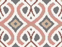 Halftone colorful seamless retro pattern pink curve cross rope k Royalty Free Stock Image