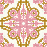 Halftone colorful seamless retro pattern pink gold round curve  Stock Photos