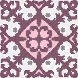 Halftone colorful seamless retro pattern purple red flower kalei Stock Photos