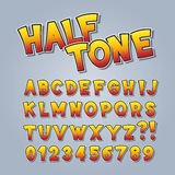 Halftone Comic Pop Art Alphabet and Numbers Royalty Free Stock Images