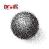 Halftone 3D Ball template. Dotwork Tattoo Style 3D Ball Stock Photos