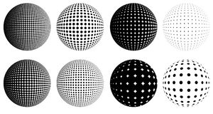 Halftone dot globes. Halftone dotted raster globes, set of abstract dotted black and white balls Royalty Free Stock Photography