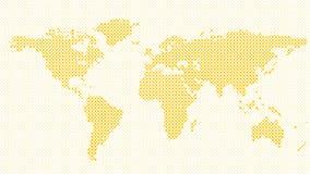 Halftone dot pattern world map background Stock Image