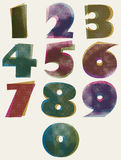 Halftone dots bold numbers, dirty color pixels print texture num Stock Image