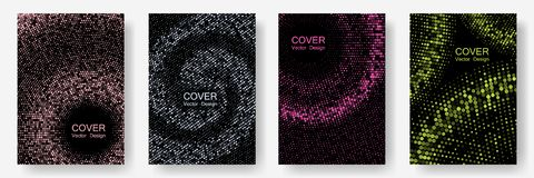 Halftone dots cover page layouts vector design. Banner patterns cool set. Party posters set with radial halftone dots gradient texture. Retro cover pages stock photo