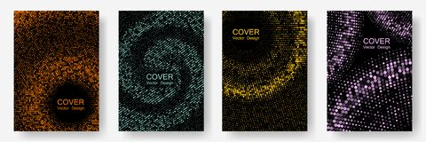 Halftone dots cover page layouts vector design. stock illustration
